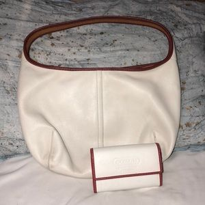 Cream coach bag with red accents & matching wallet